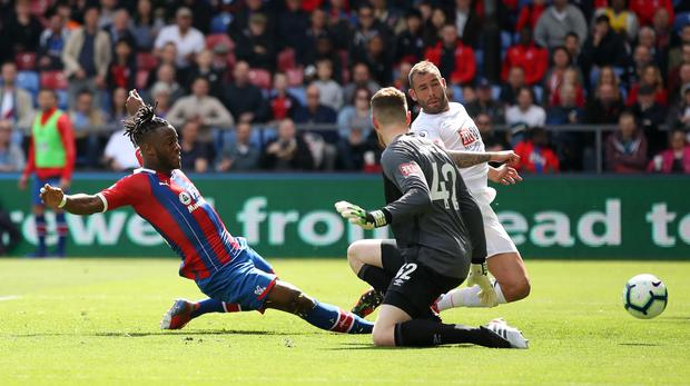 Crystal Palace's Michy Batshuayi scores to put his side 2-0 up during a 5-3 win over Bournemouth. Bradley Collyer/PA)