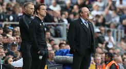 Rafael Benitez, right, witnessed a winning end to Newcastle's season (Jonathan Brady/PA)