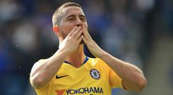 Eden Hazard acknowledges the Chelsea fans after the game (Mike Egerton/PA)