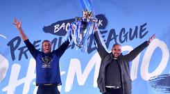 Manchester City's Vincent Kompany and manager Pep Guardiola celebrate their latest Premier League title win (Anthony Devlin/PA)