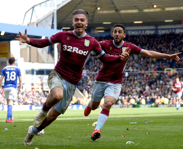 Jack Grealish (left) and his Aston Villa team-mates are one win away from returning to the top flight. Photo: Getty Images