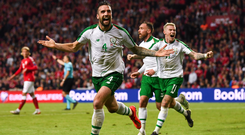 Derryman Shane Duffy topped off a wonderful performance for Ireland with the equaliser in Copenhagan. Photo: Stephen McCarthy. Photo: Sportsfile