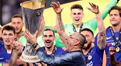 Maurizio Sarri lifts the Europa League trophy after Chelsea's win in Baku (Adam Davy/PA)