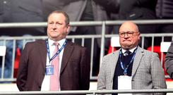 Newcastle owner Mike Ashley, left, and managing director Lee Charnley are drawing up a shortlist for manager Rafael Benitez's replacement (Steven Paston/PA)