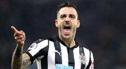 Joselu leaves Newcastle after a two-year spell with the club. (Owen Humphreys/PA)