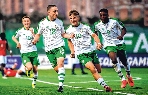 Ireland's Joe Hodge celebrates with team-mate Matt Everitt after scoring the equaliser against Norway. Photo: Sportsfile