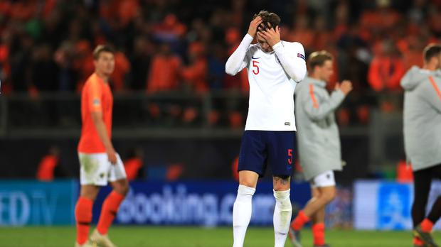 John Stones bore the brunt of the criticism for England's defeat to Holland in the Nations League semi-final, (Mike Egerton/PA) Guimaraes.