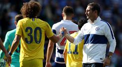 Chelsea boss Frank Lampard, insists there was no bad blood between him and David Luiz, left (David Davies/PA)