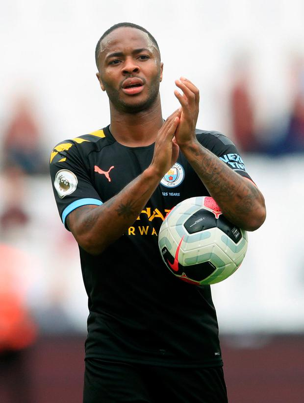 Raheem Sterling bagged a hat-trick for City. Photo: PA