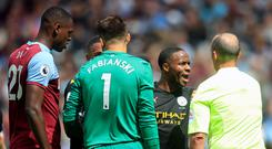 Raheem Sterling, second right, shows his frustration as a VAR check disallows team-mate Gabriel Jesus' effort at West Ham (Adam Davy/PA)
