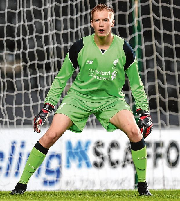 Caoimhin Kelleher in action for the Liverpool U-21s, now on the cusp of a big breakthrough