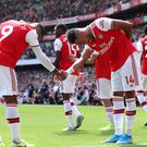 Pierre-Emerick Aubameyang and Alexandre Lacazette netted the goals as Arsenal downed Burnley (Yui Mok/PA)