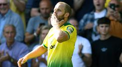 Save all your kisses for me – Norwich's Teemu Pukki was the hat-trick hero at Carrow Road (Joe Giddens, PA)