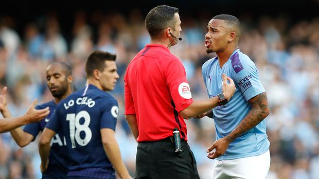 Gabriel Jesus appeals to referee Michael Oliver after his goal was ruled out by VAR (Martin Rickett/PA)