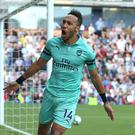 Pierre-Emerick Aubameyang has been on fine goal-scoring form for Arsenal. Photo: Nigel French/PA