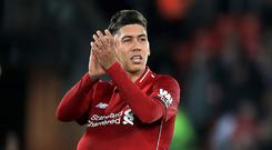 Roberto Firmino scored a hat-trick when Liverpool and Arsenal last met at Anfield (Peter Byrne/PA)