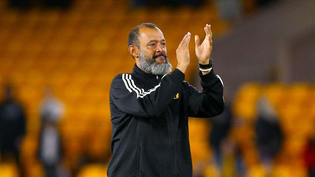 Wolves manager Nuno Espirito Santo is preparing to face Burnley on Sunday. (Nigel French/PA)