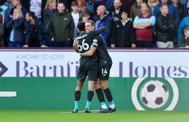 Liverpool went ahead when Trent Alexander-Arnold's cross deflected in off Chris Wood (Anthony Devlin/PA)