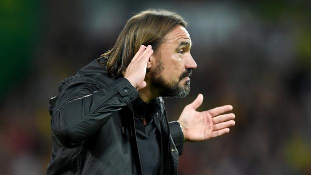 Daniel Farke acknowledges the fans after the win (PA)