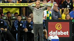 Manchester City manager Pep Guardiola witnessed a defensive horror show at Norwich (Joe Giddens/PA)