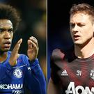 Willian, left, and Nemanja Matic are at the centre of speculation (Steven Paston/Martin Rickett/PA)