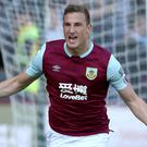 Chris Wood celebrates his first goal against Norwich (Richard Sellers/PA)