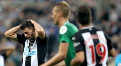 Fabian Schar ensured the spoils were shared in Newcastle (Owen Humphreys/PA)