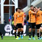 Diogo Jota (right) ended a run of three straight defeats for Wolves with a late equaliser away to Crystal Palace (Daniel Hambury/PA).