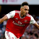 Pierre-Emerick Aubameyang was Arsenal's match-winner against Villa (Steven Paston/PA)