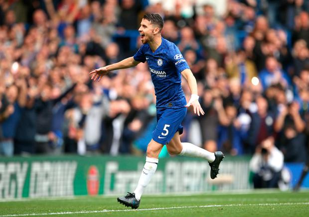 Jorginho celebrates Chelsea's first goal. Photo: Steven Paston/PA Wire