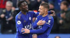 Jamie Vardy (right) scored twice at the King Power (Nick Potts/PA)