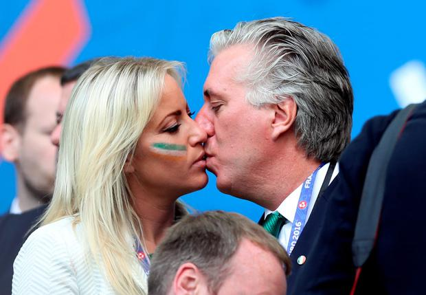 John Delaney with girlfriend Emma English at the Euros in France back in 2016. Photo: Martin Rickett/PA Wire
