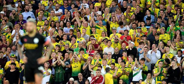 Norwich celebrated a memorable win over Premier League champions Manchester City at Carrow Road (Joe Giddens/PA)