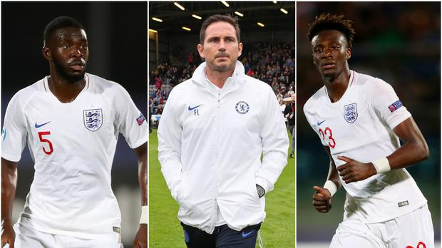 Frank Lampard, centre, has leaned heavily on Fikayo Tomori, left, and Tammy Abraham (Nick Potts/Brian Lawless/PA)