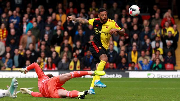 Andre Gray (right) and Danny Welbeck had chances to hand the Hornets their first three points of the campaign (Ian Walton/PA)