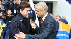 Arsene Wenger (right) came up against Tottenham boss Mauricio Pochettino during his time in charge of Arsenal. (Adam Davy/PA)