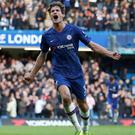 Chelsea's Marcos Alonso celebrates scoring the winner at Stamford Bridge