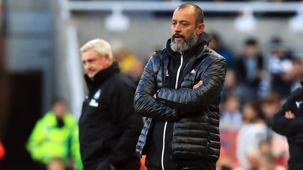 Wolves manager Nuno Espirito Santo (right) was not disappointed with a 1-1 draw at Newcastle (Owen Humphreys/PA)