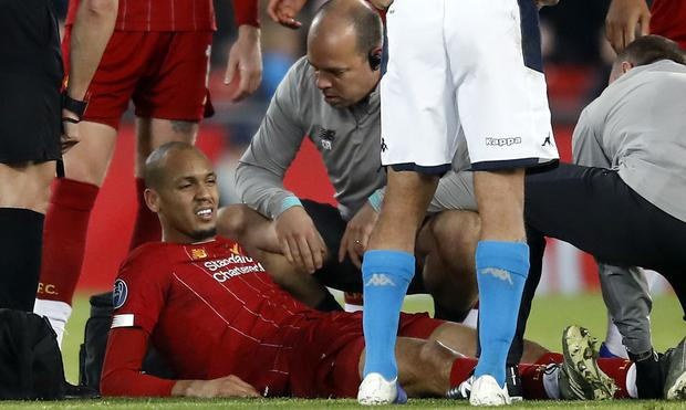 Fabinho was replaced after 19 minutes against Napoli due to injury (Martin Rickett/PA)