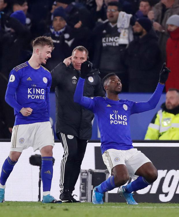 Leicester City's Kelechi Iheanacho celebrates scoring the late winner against Everton with James Maddison but manager Brendan Rodgers refused to get carried away. Photo: Reuters