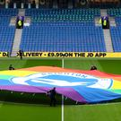 The rainbow flag on the pitch at the Amex Stadium ahead of Brighton's Premier League clash with Wolves (Gareth Fuller/PA)