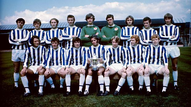 Trevor Cherry, second from right back row, pictured with Huddersfield after winning promotion in 1970