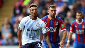 Jean-Philippe Gbamin, left, is hoping to return to action for Everton this season (Nigel French/PA)