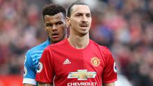Zlatan Ibrahimovic, right, and Tyrone Mings, left, clashed at Old Trafford