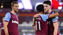 Declan Rice, right, celebrates scoring the opening goal (Justin Setterfield/PA)