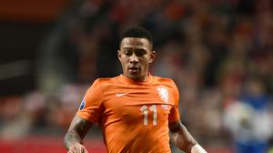 The highly-rated Memphis Depay, pictured. has been linked with Manchester United and Liverpool