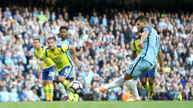 Sergio Aguero suffered frustration from the spot against Everton at the weekend