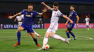 West Ham United's Declan Rice scores their second goal in the Europa League Group H win over Dinamo Zagreb at Stadion Maksimir, Zagreb, Croatia