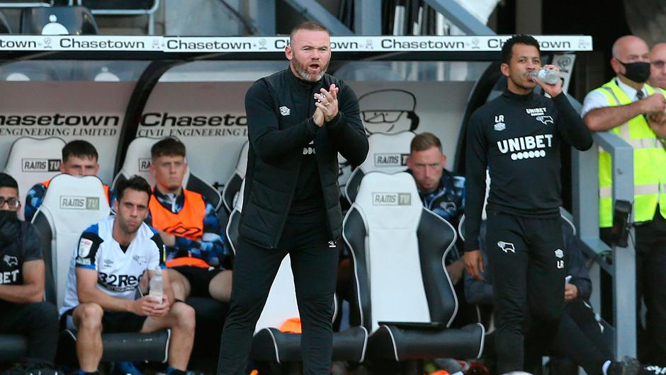 Derby County manager Wayne Rooney on the touchline during a Sky Bet Championship match at Pride Park. Photo: Barrington Coombs/PA Wire