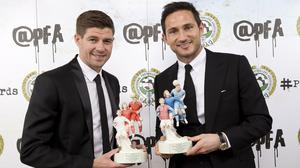 Frank Lampard, right, and Steven Gerrard were feted by the PFA on Sunday night